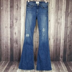 Mcguire distressed raw hem flare leg jeans